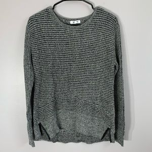 BB DAKOTA Marled Knit Grey Sweater Leather Trim
